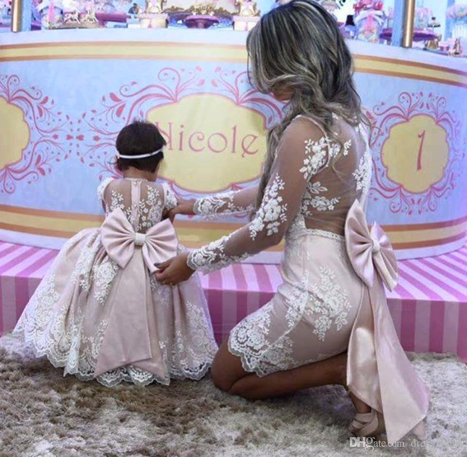 Mother Daughter Princess Pink lace Prom Gowns Flower Girl Dresses Long Sleeves Mother Of Bride Dresses With Big Bow