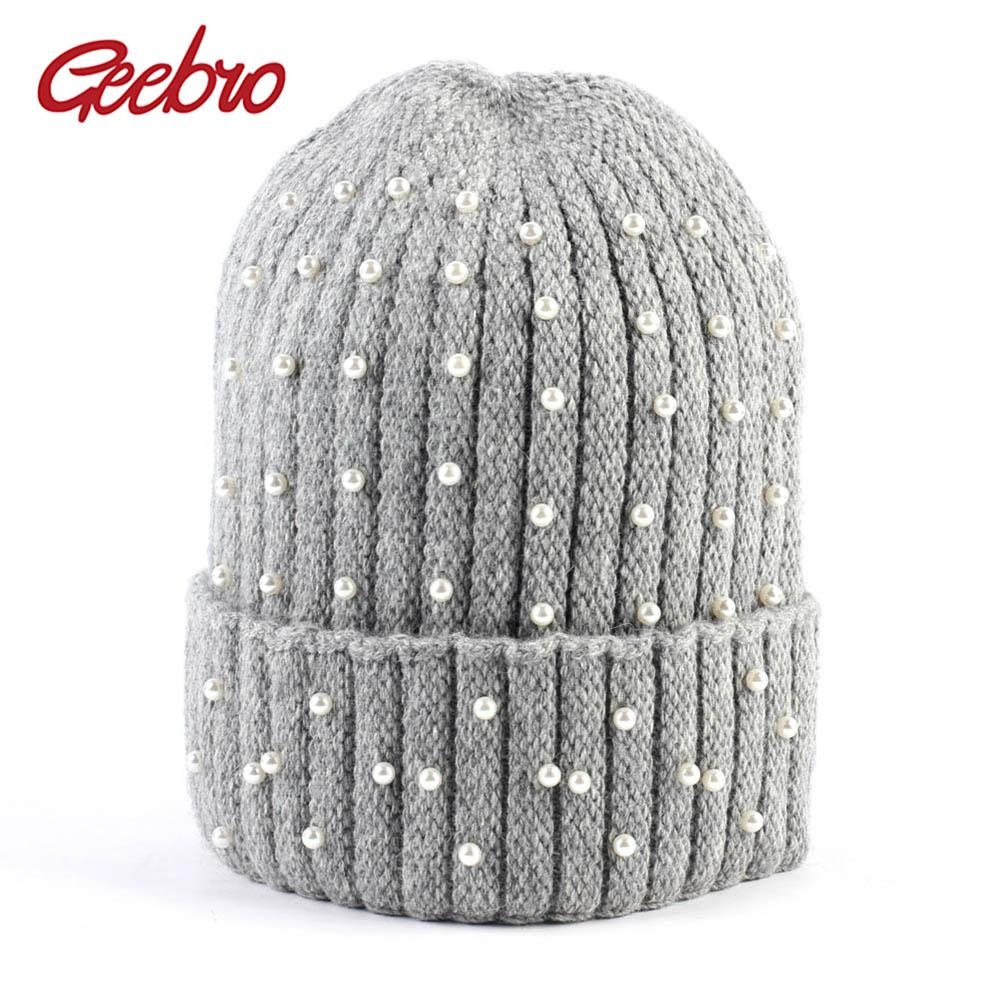 Geebro Women S Cashmere Beanie Hat Winter Knitted Pearl Slouchy Beanie For  Women Balavaca Skullies Beanies Gorros Mujer Invierno Cap Hat Cute Beanies  From ... c743e2a7ce