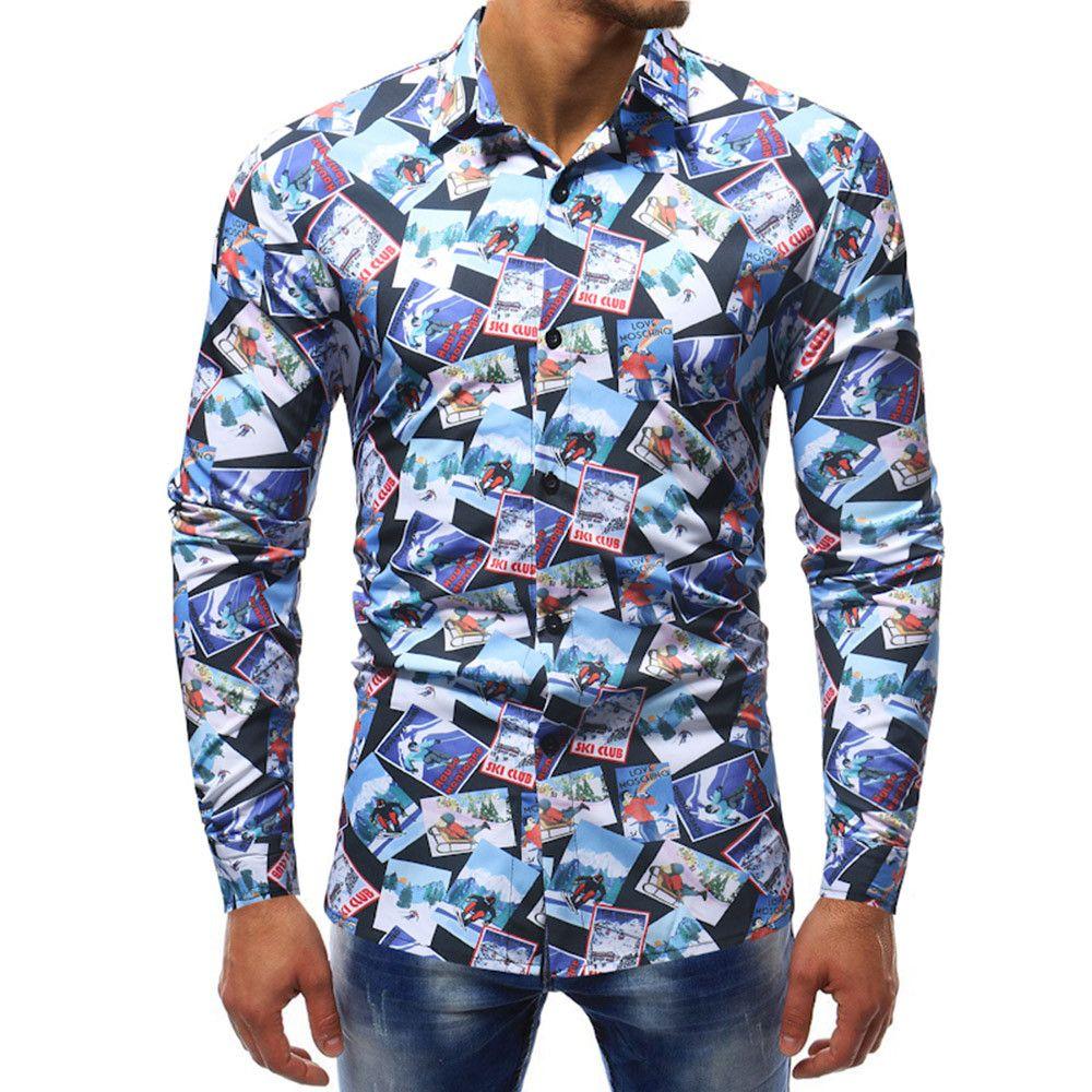 Compre MUQGEW Camisa Masculina Masculina Camisa Floral Slim Fit Camisas  Homem Moda Impresso Blusa Casual Manga Longa Camisas Finas Tops   G4 De  Berniee be02347c95d40