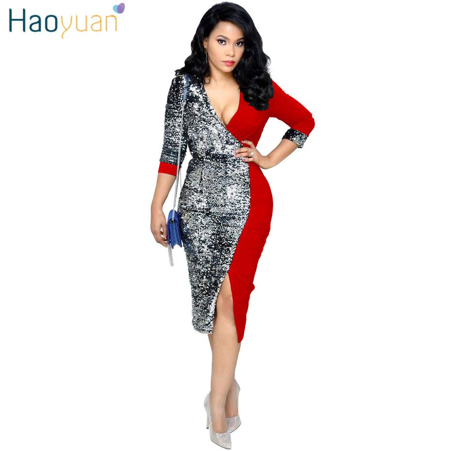 ff5bab4adcc HAOYUAN Sexy Sequin Dress Women Clothes 2019 New Arrival Black Red Bodycon  Bandage Dress OL Office Night Club Midi Party Dresses White Dress With  Flowers ...