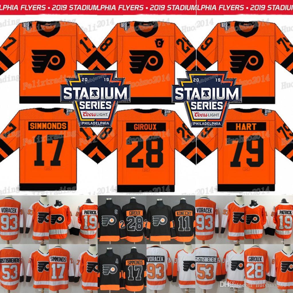 hot sales 9dd43 43607 79 Carter Hart Philadelphia Flyers 2019 Stadium Series Claude Giroux Wayne  Simmonds Jakub Voracek Shayne Gostisbehere Nolan Patrick Jersey