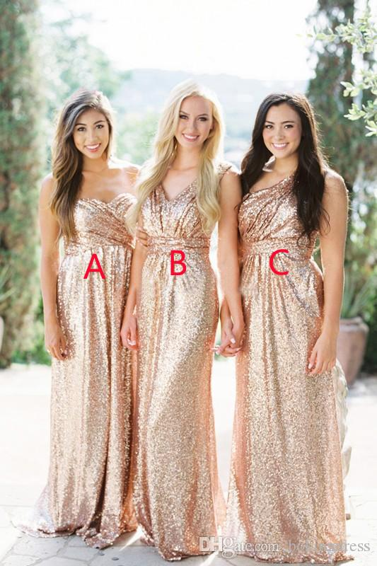 0dba3f1e6c26 2019 Cheap Gold Sequins Bridesmaid Dresses Sweetheart Neck Floor Length  Maxi Style Maid Of Honor Wedding Guest Gown Watters Bridesmaid Dresses  Yellow ...