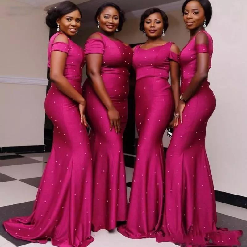 4d2faed35 Niñas negras fucsia tallas grandes vestidos de dama de honor largos fuera  del hombro, cuentas, vestidos de sirena, trajes de noche, nigeria africana,  ...
