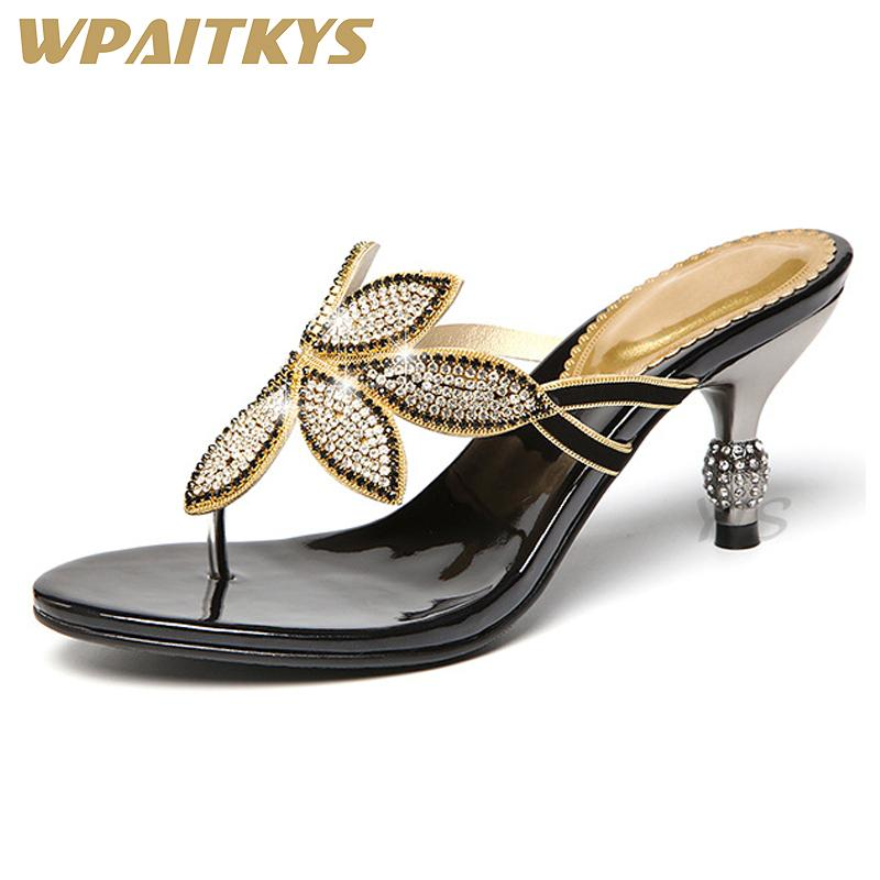 cd2ef199aa0 Exquisite Rhinestone Women High Heeled Sandals Fashion Blue Black Crystal  Metal Decoration Leather Shoes Women Birthday Party Heels Gladiator Sandals  From ...