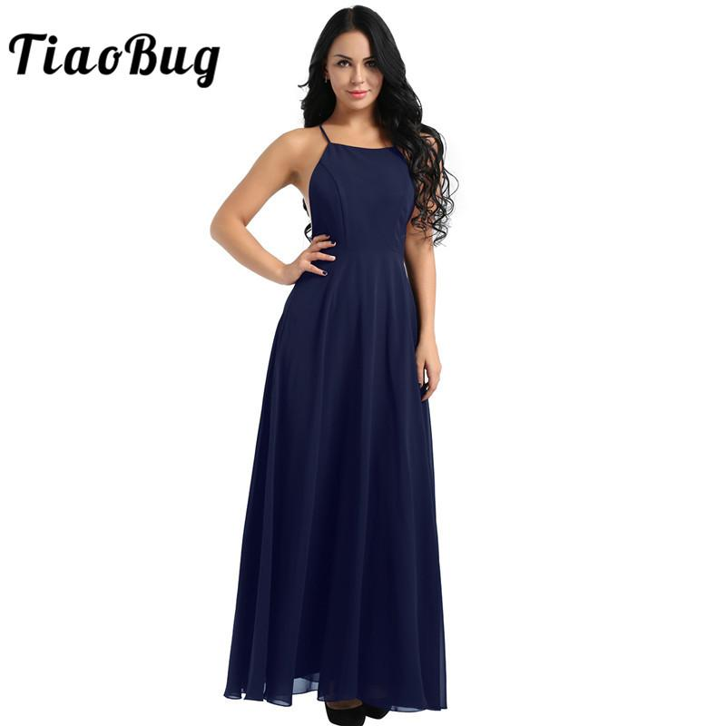 55f21d77b7e38 TiaoBug Women Spaghetti Straps Backless Summer Chiffon Long Dress Elegant  Ladies Evening Wedding Party Formal Dresses Vestido