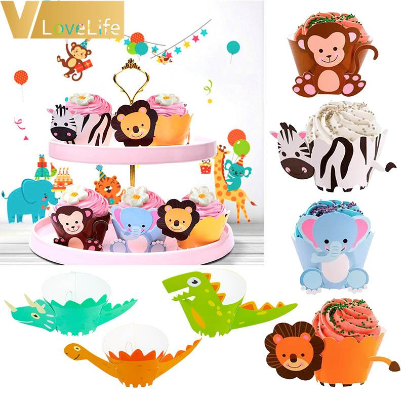 12Pcs/set Cupcake Wrappers Topper Dinosaurs And Animals Paper Baby Shower Birthday Party Decorations Kids Boy And Girl