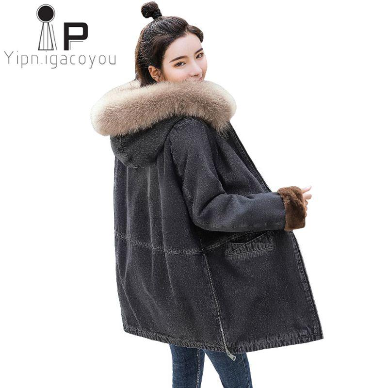 db582b237 Compre Inverno Longo Denim Jaqueta Mulheres Outerwear Quente Grande Gola De  Pele Com Capuz Jeans Mulheres Casaco De Lã De Carneiro Plus Size Senhoras  ...