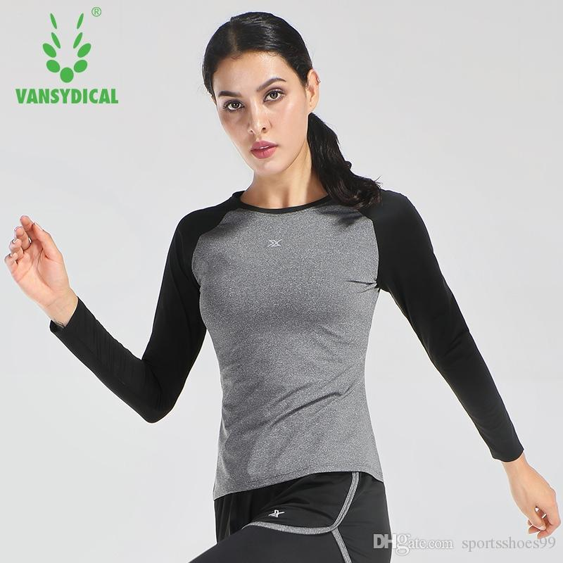 f51582becbb 2019 Vansydical Women Long Sleeve Yoga T Shirts Soild Fitness Gym Tees  Compression Running Shirts Plus Size Sports Tops #40696 From Sportsshoes99,  ...