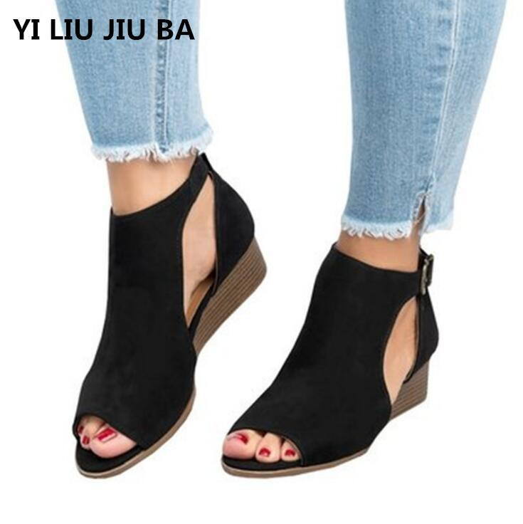918fc82d18c271 Shoes 2019 Woman Wedge Buckles Fish Mouth Sandals Gladiator Women Sandals  Mid Heel Sandals Ladies Summer Peep Toe Women   037 Mens Sandals Mens  Trainers ...