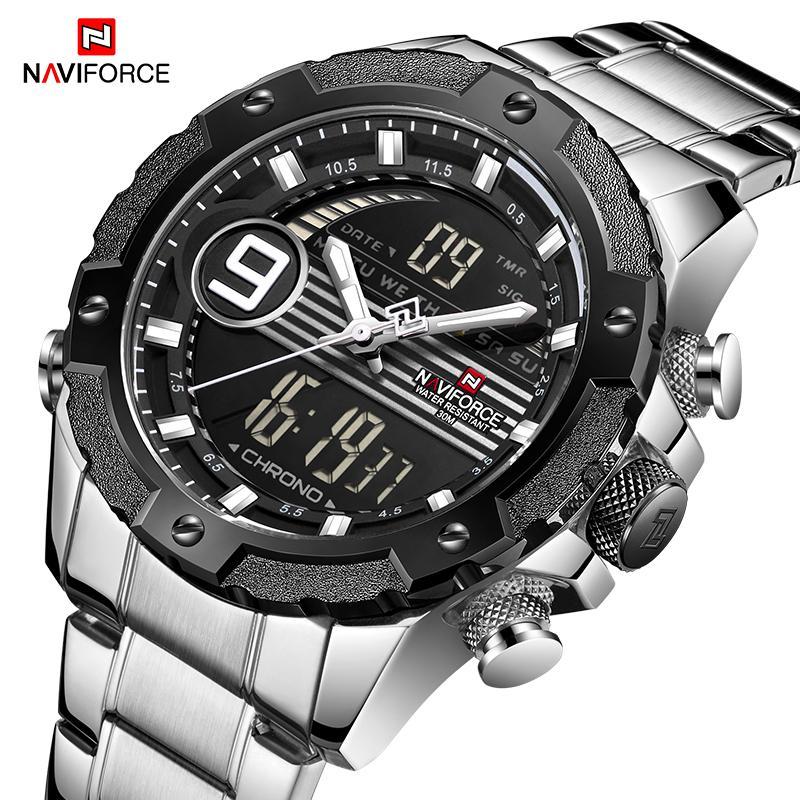 89a9d30271f2 Compre NAVIFORCE Marca De Lujo Superior Relojes Deportivos Para Hombre  Reloj De Cuarzo De Acero Completo LED Digital Hombre Hombre Reloj De  Pulsera ...