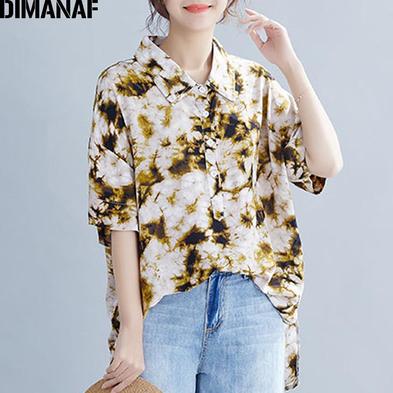 d0a3bbbf09e 2019 DIMANAF Plus Size Women Blouse Shirts Big Size Lady Tops Cotton Tunic  Summer Casual Print Loose Casual Female Clothes 2019 5XL From Meizuang, ...