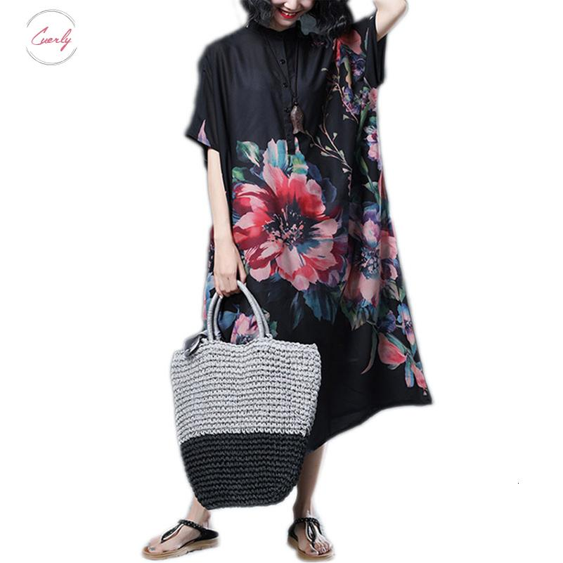 Women Dress Loose Plus Size Batwing Chiffon Floral Print Female Vintage Vestido Summer Oversize Long Sleeve N Long Dress 5Xl