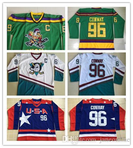 edbaa471d 2019 Charlie Conway Hockey Jersey 1996 06 Anaheim Mighty Ducks Jerseys USA  96 Charlie Conway 33 Greg Goldberg 66 Gordon Bombay Hockey Jersey From  Janeonline ...
