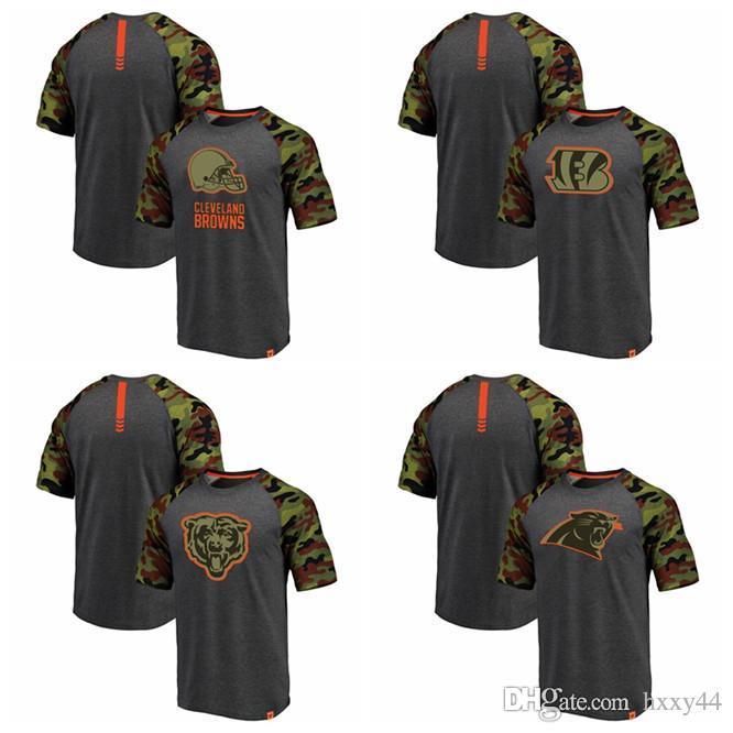 big sale 018d6 bd1ed Line by Fanatics Branded Browns Cleveland Bengals Cincinnati Chicago Bears  Carolina Panthers Heathered GrayCamo Recon Camo Raglan T-Shirt