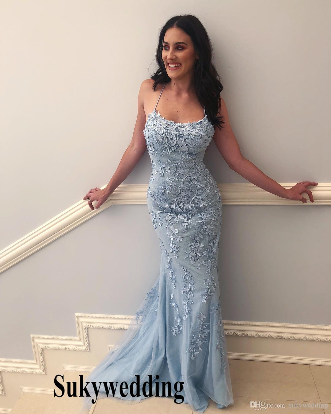 Baby Blue Mermaid Prom Dresses With White Lace Appliques Formal Evening  Gowns Pleats Pageant Dresses Long Sweep Train Robe De Soiree Elegant Prom  Dresses ... e38afa6d5cf2