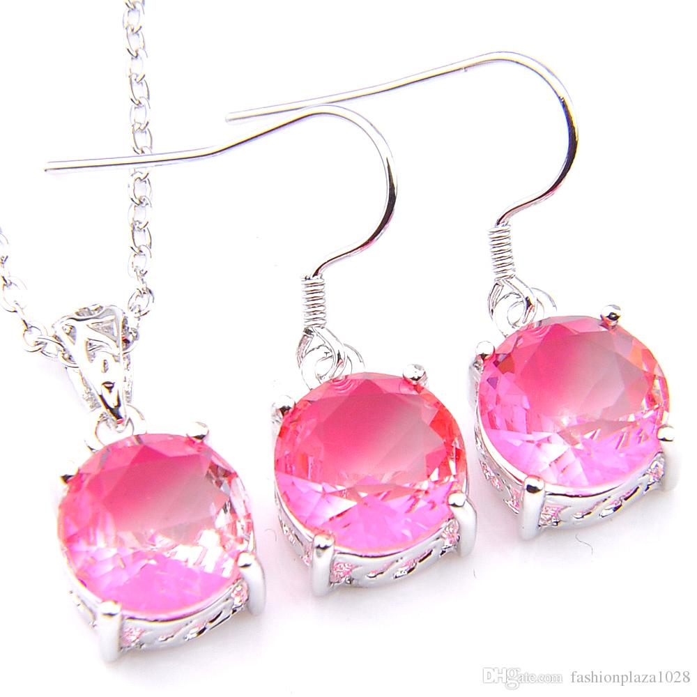 Luckyshine Engagement Jewelry Sets Round Pink Bi Colored Tourmaline Gems Silver Pendants Drop Earrings Jewelry Set NEW