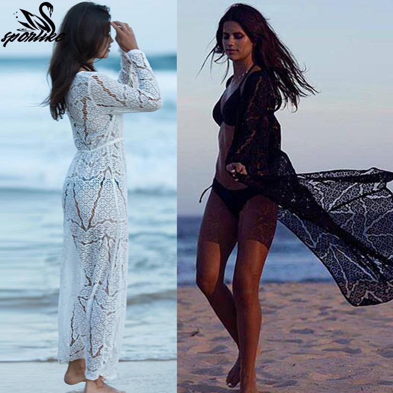 6710c1a91d1d9 Long Crochet Robe Plage Swimsuit Saida De Praia Longa Women Bathing Suit  Cover Up Tunics For Beach Q190521