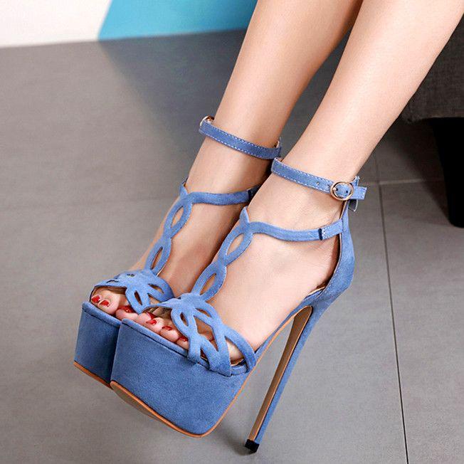 630a840706d 16cm Chic blue T strappy platform high heel pumps luxury women designer  shoes ladies party club dance shoes size 34 to 40
