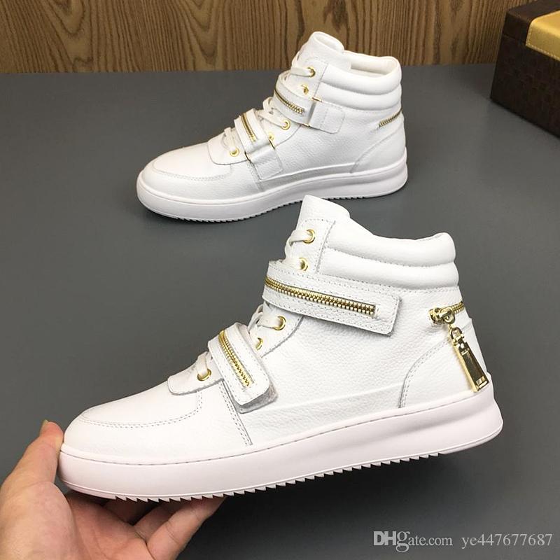 6b48f3416b90f Acquista Nuove Sneakers Alte Da Uomo Classiche Scarpe Sportive Di Design Di  Marca Tedesca Di Lusso Scarpe Da Ginnastica In Pelle Di Vitello Con  Cuciture ...