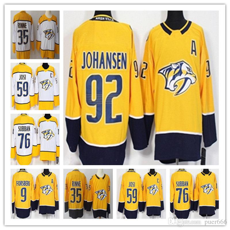 661a4fda3 Nashville Predators 9 Filip Forsberg 12 Mike Fisher 35 Pekka Rinne 59 Roman Josi  76 PK Subban 92 Johansen Blue Stitching Hockey Jerseys Online with ...