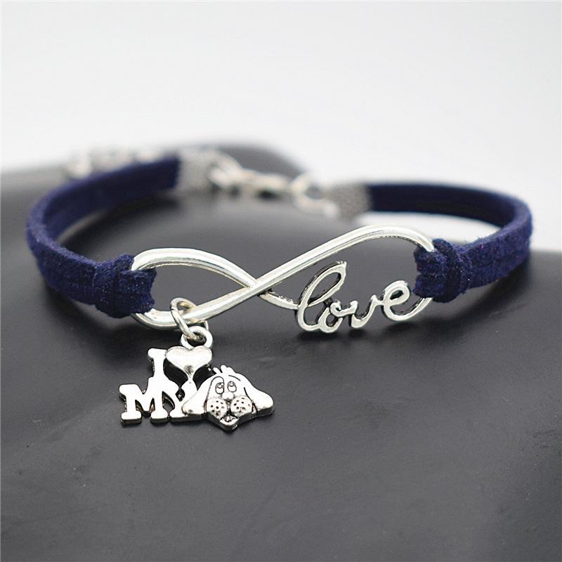 b86ff053cd595 Designer Metal Women Men Costume Charm Jewelry Infinity Love I Heart My Dog  Bracelets Dark Navy Chocolate Leather Rope Silver Charms Bangles