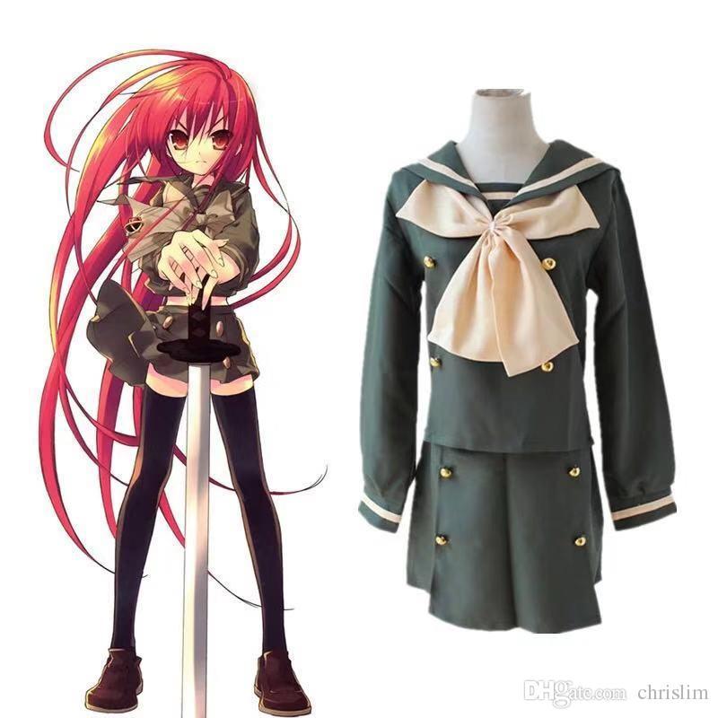 3434de3bdd Compre Anime Japonês Shakugan No Shana Cosplay Shana Costume Japonês  Uniforme Estudante Do Sexo Feminino Top + Saia Por Conjunto De Chrislim