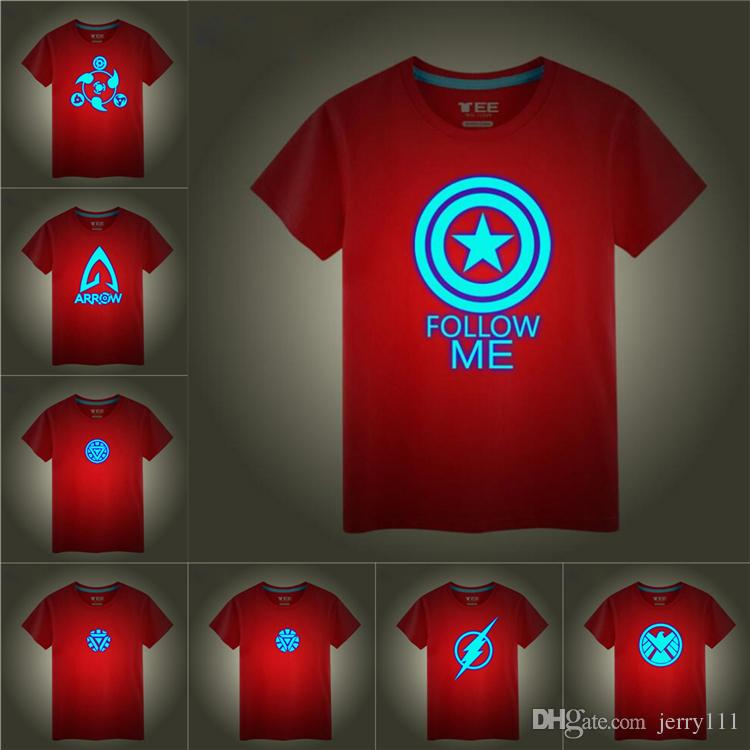 glow in the night superhero logo Printed Kids T-shirts Tees 16 designs 3-12t kids Boys Cotton T shirt kids designer clothes SS310