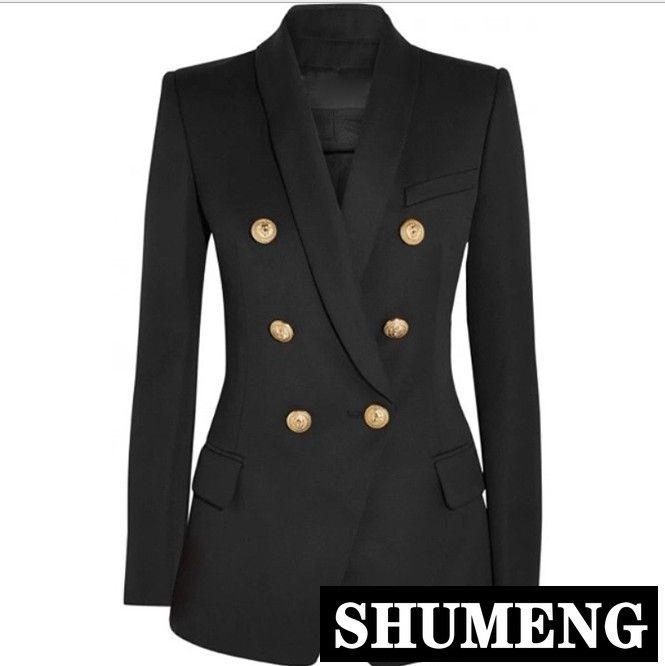 2019 neue mode frauen schwarz anzug mantel löwenkopf metallschnalle zweireiher blazer anzug jacke reine farbe damen schlank outwear