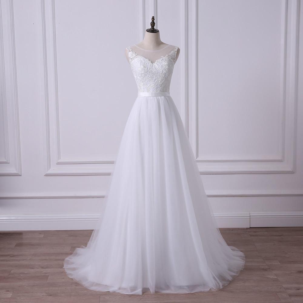 Discount 2019 Scoop A Line Lace Wedding Dress Illusion Bodice Simple