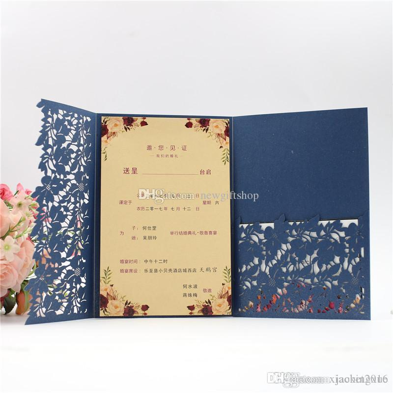 Shipped by DHL 2019 Navy Blue Laser Cut Pocket Wedding Invitation Kits, Customizable Party Invites with RSVP And Envelope