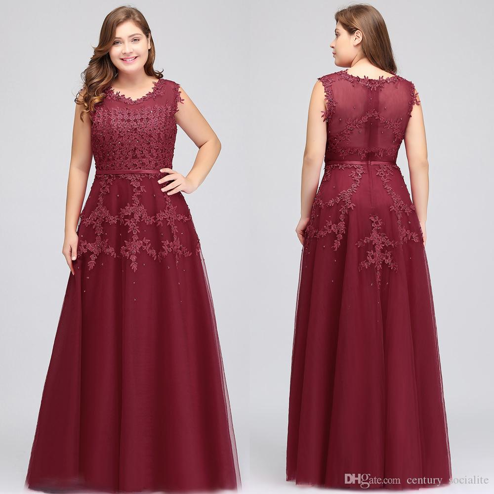 8f529b47ccaae3 Burgundy A Line Evening Dresses Lace Appliques Beaded Zipper Illusion  Sleeveless Scoop Plus Size Floor Length Sexy Prom Dresses Formal Evening  Dresses ...