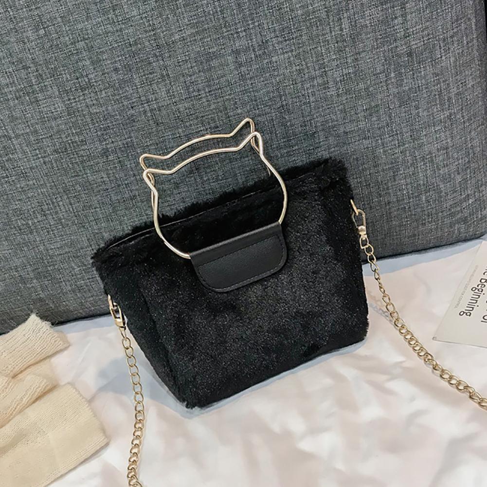 ef904a7cd1fc Fashion Solid Color Plush Hollow Cat Rings Handle Woman Handbag ...