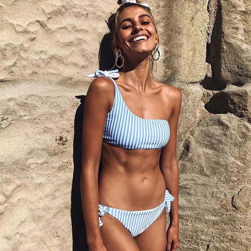 faffae3dc17 2019 New Striped One Shoulder Bikini Set Padded Bandeau Top With Tie Side Thong  Bikinis Women Girls Beach Swimsuit Bathing Suit CCI0137 From Hhwq105, ...