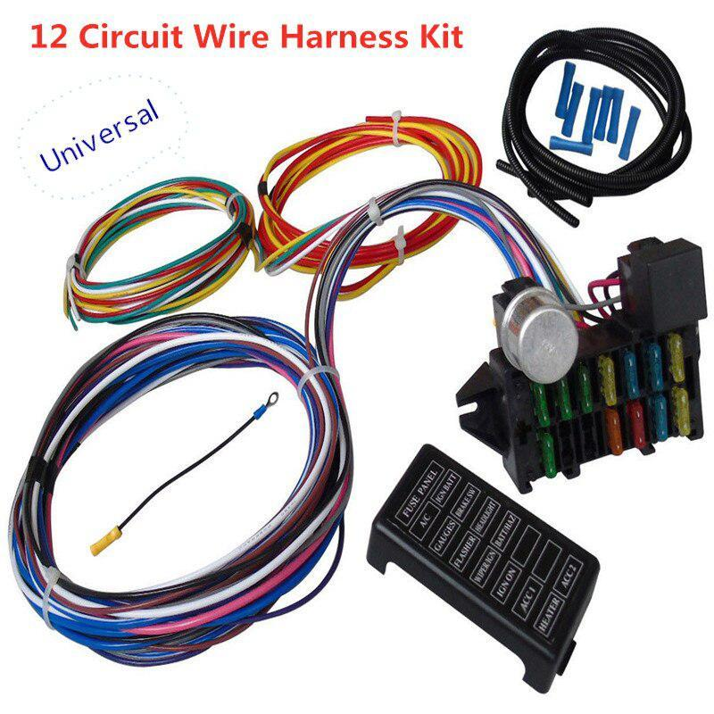 Universal 12 Circuit cablagem Muscle Car Hot Rod Rua Rod XL Wires chicote do relé Loom Kit de cabos para Led Lamp Work