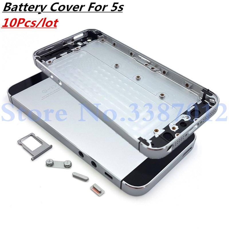 the latest a0edf d02c8 10Pcs/lot For Apple iPhone 5S Back Battery Cover Rear Door Housing Case  Replacement With Volume keypad Power Keypad For iPhone5S