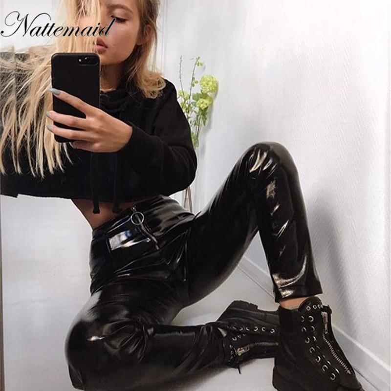 Bottoms Women Sexy Low Waist Pu Leather Black Skinny Motorcycle Pants Jeans