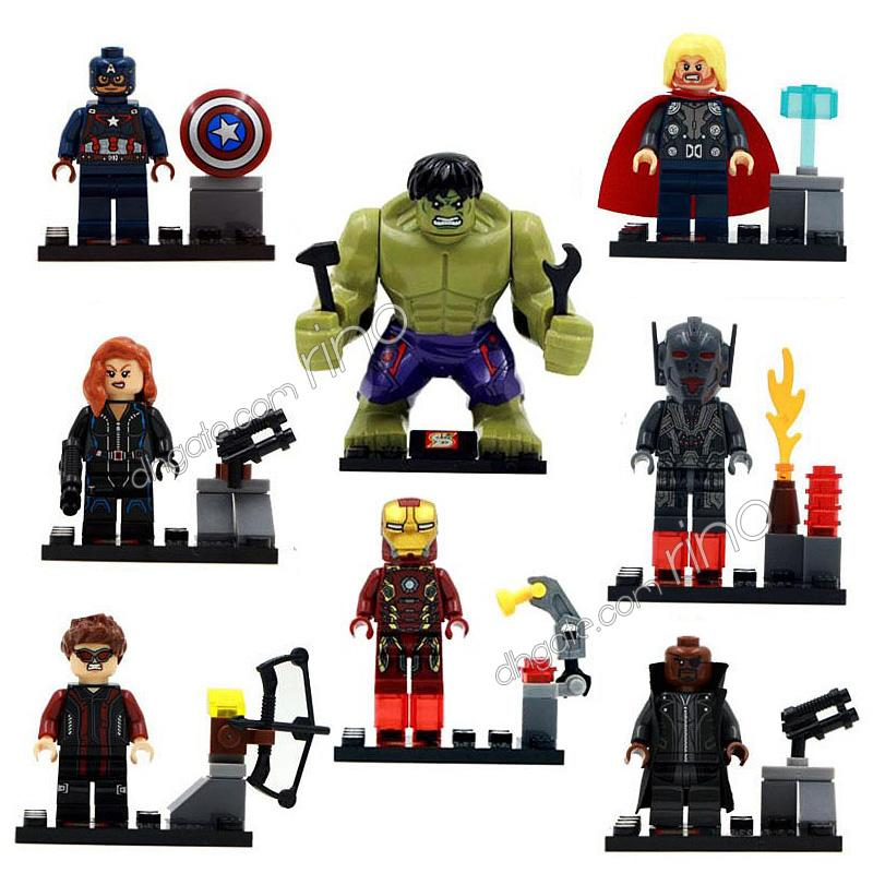 the Avengers Marvel building blocks Sets 8pcs Kid Toys Gifts Mini Superhero Iron Man Captain America Black Widow Thor Hulk Action Figures