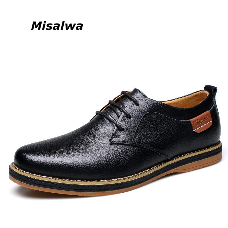 2017 Men Business Flats Men Shoes Leather Blue Black Yellowish Lace Dress Oxfords Leisure Low Heel Zapatos Hombre Vestir Size 10
