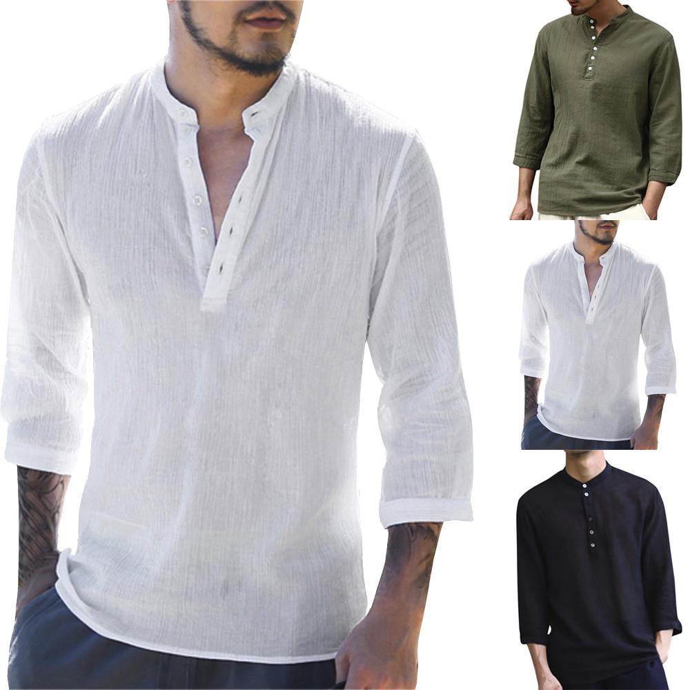 13fe045d42 Compre 2019 Mens Pullover Camisas De Lino Manga Corta Primavera Verano  Transpirable Para Hombre De Calidad Camisas Casuales Slim Fit Sólido Camisas  De ...