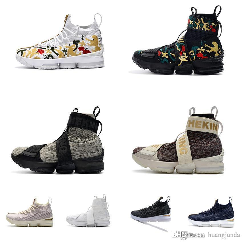 timeless design c799f f0ee6 Cheap Kith X Lebron 15 high tops basketball shoes lifestyle king floral  Triple Black Pure White Navy youth kids sneakers tennis with box