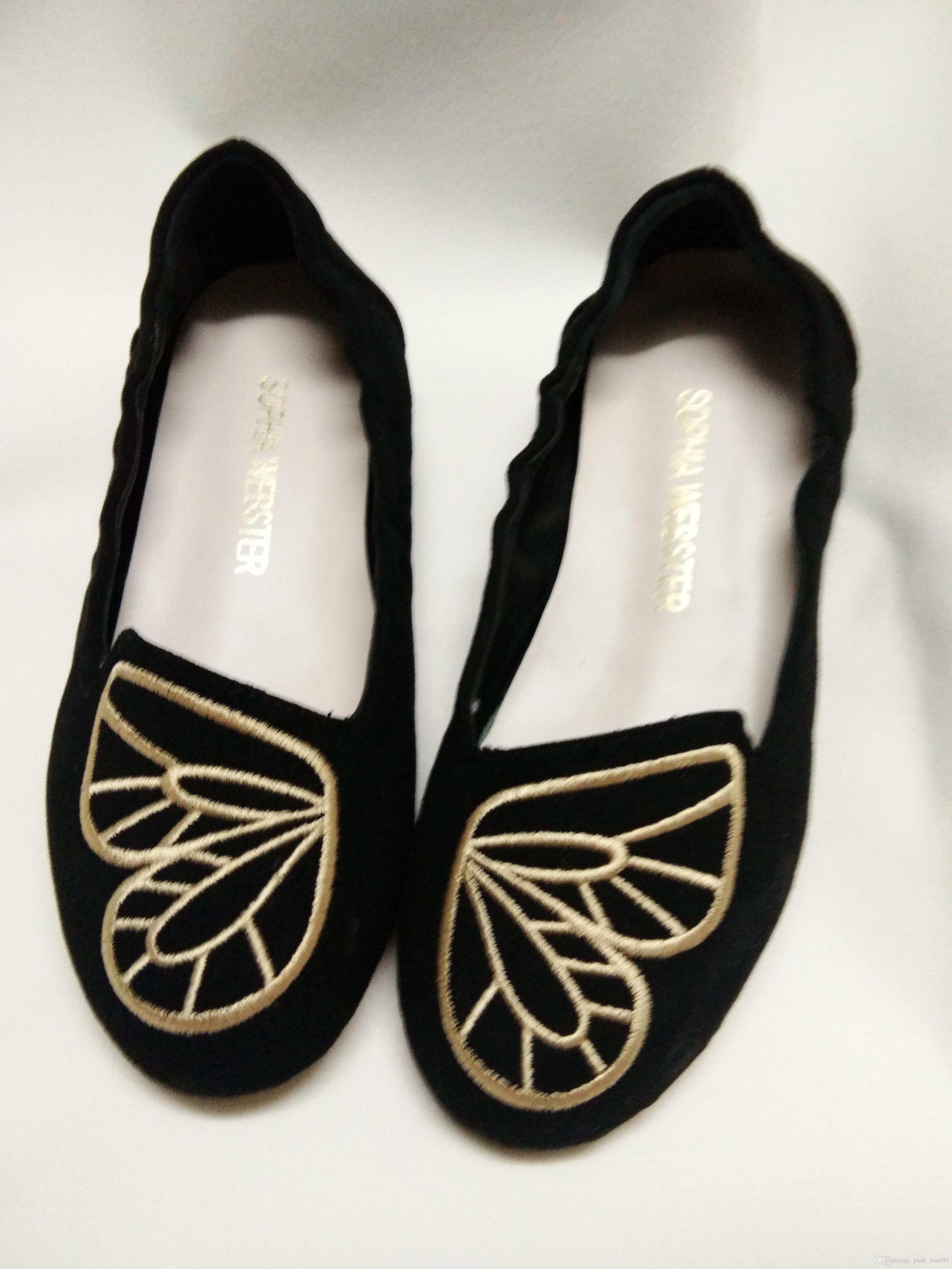 Free shipping 2019 Ladies suede leather Round toes shoes low heels embroider butterfly ornaments Sophia Webster black ballet dance SHOE34-42