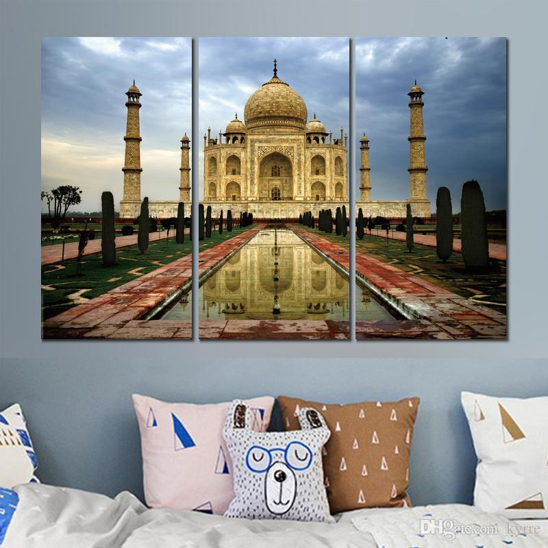 india city agra taj mahal art poster painting print on canvas for home decoration
