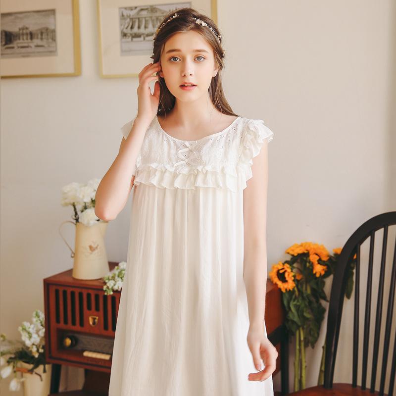83cccba5ece64 2019 2019 New Princess Nightgowns Women Retro Nightdress Knee Length ...