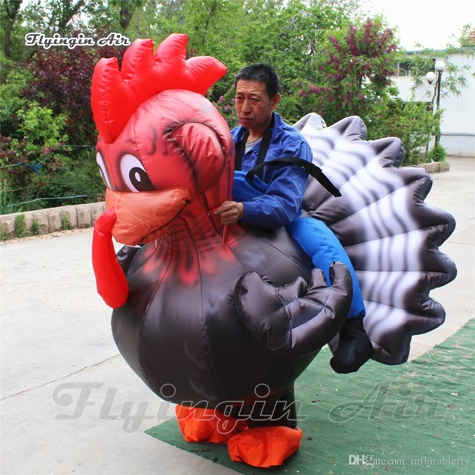 Outdoor Garden Party Game Props Funny Walking Inflatable Chicken Costume 1.8m/2m Wearable Blow Up Animal Mascot Suits For Circus Show