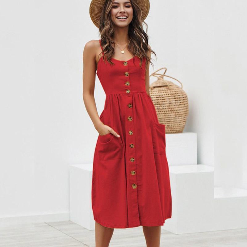 3a4dfbc987b 2019 Mq Women Cotton Summer Dresses Sexy Straps Bohemian Floral Tunic Beach  2019 Bodycon Sundress Pocket Red Dress Female Vestidos Y190425 From Gou01