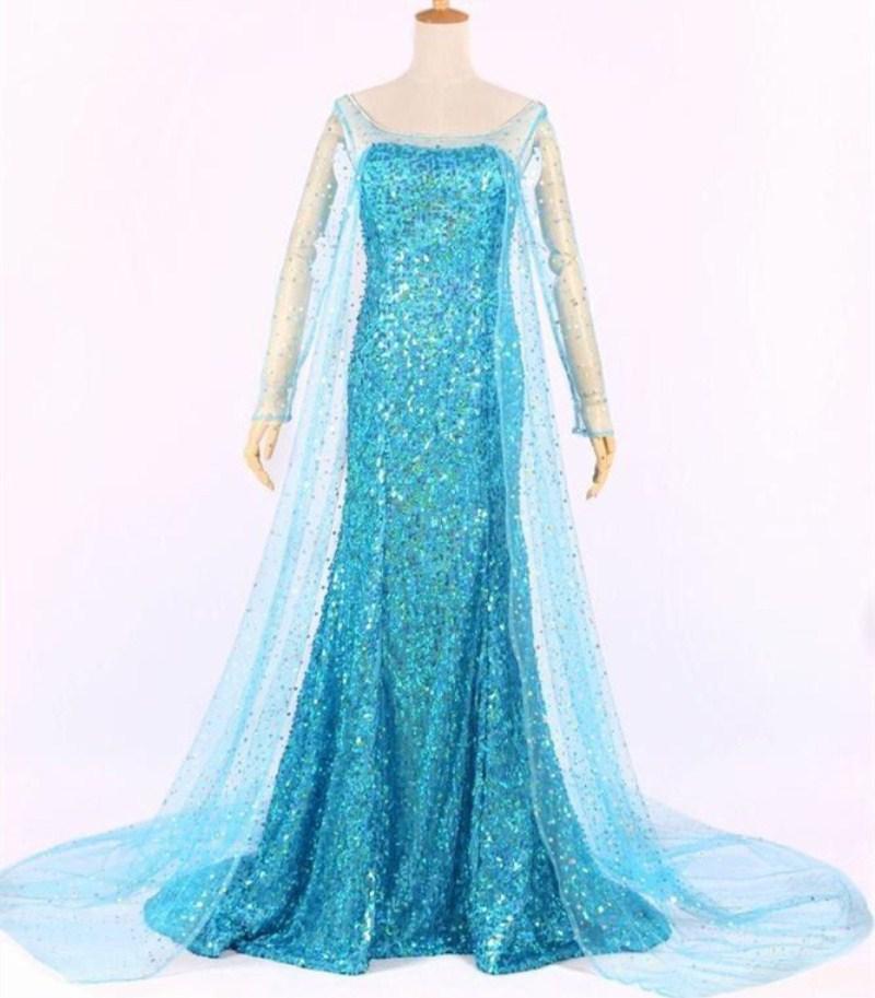 2d0f34c2a20d Queen Princess Adult Women Party Blue Bling Cosplay Princess Dress ...