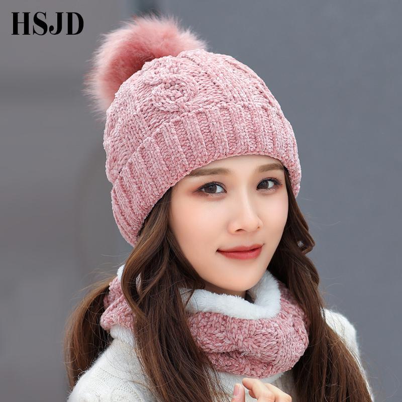 deab0616bdcec Winter Women S Hat Caps Soft Chenille Knitted Hats Scarf Hat Set Thick  Balaclava Ski Cap Skullies Beanies Female Cap C18112301 Ski Hats Newborn  Hats From ...