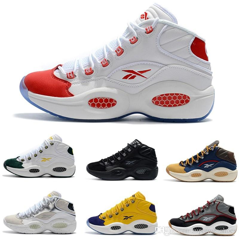 7d7c8d1b70b 2019 2019 Classic Allen Iverson 1 Olive Green Yellow Red Basketball Shoes  Top Quality Mens Trainers Answer One Sports Designer Sneakers Size 7 11  From ...