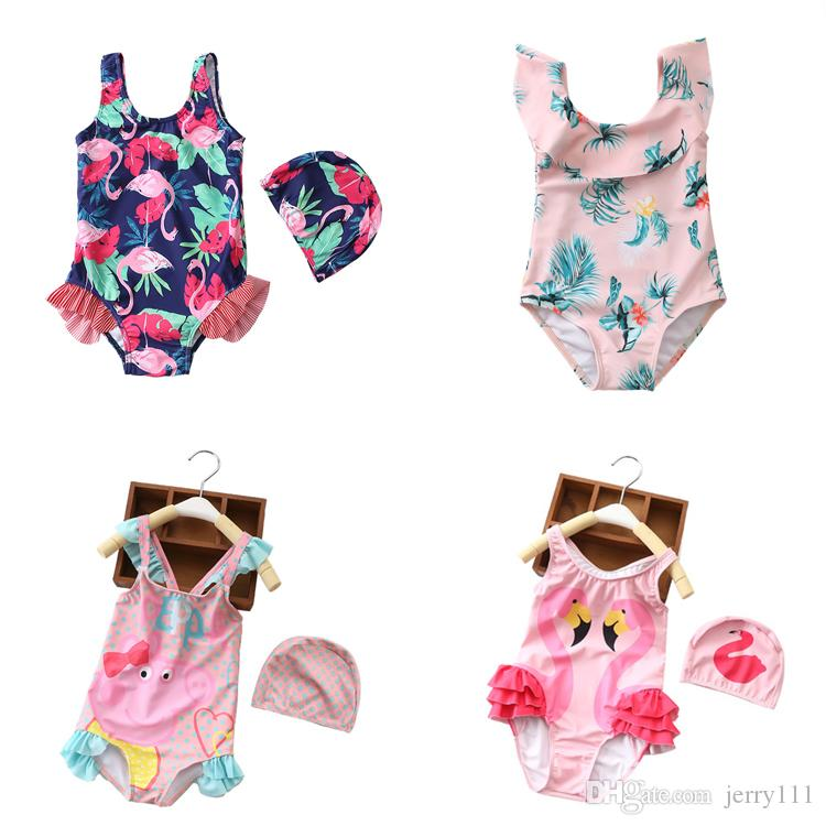 157ecdd23d9a3 2019 24 Styles Unicorn Flamingo Printed Kids Swimwear 2 8t Baby Girls One Piece  Swimsuit Girls Designer Swimwear Bikini Kids Beach Wear DHL FJ169 From ...