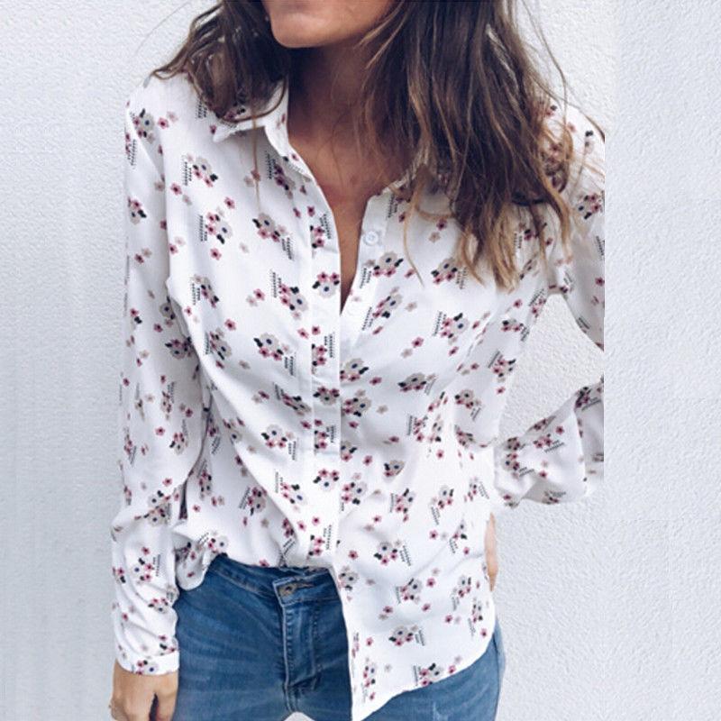 263f8de00f9e Moda mujer manga larga camisas sueltas Casual Summer Tops Imprimir nueva  mujer ropa Tops camisa